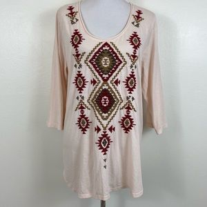 Johnny Was JW Embroidered Southwestern Tee Shirt
